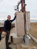Ryan Flagg servicing instruments in Cambridge Bay