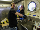 Alice and Fabio working in the wet lab