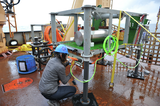 Reyna working on the Barkley Hydrates instrument platform