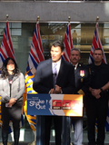 Vancouver mayor Gregor Robertson officially opens the ShakeOut